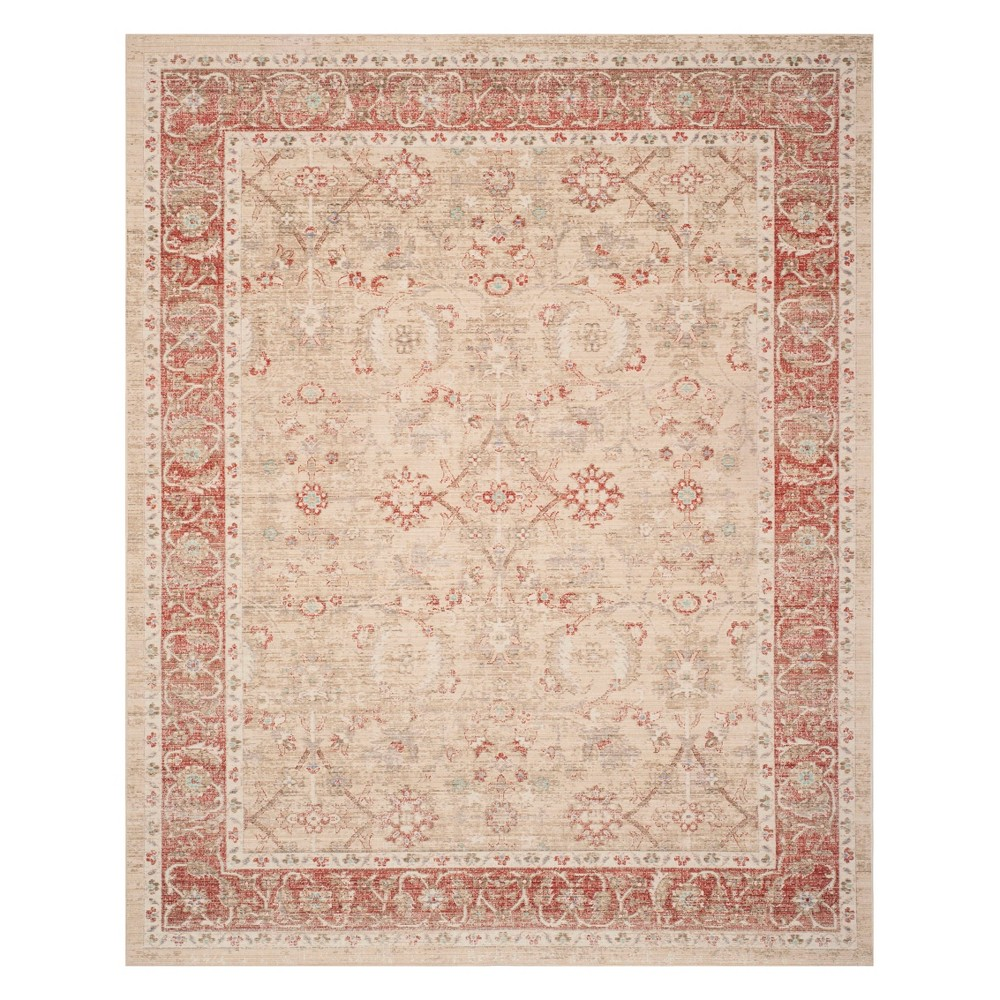 8'X10' Floral Loomed Area Rug Ivory/Red - Safavieh, White
