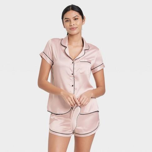 Women's 3pc Satin Notch Collar Top Pajama Set - Stars Above™ - image 1 of 4