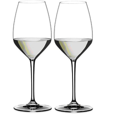 Riedel 16.25 Fluid Ounce Heart to Heart Riesling Wine Drinking Flute Clear Crystal Glass Set with Microfiber Polishing Cloth, Set of 2