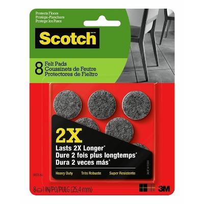 "Scotch 8pk Heavy Duty Felt Pads 1"" diameter Gray"