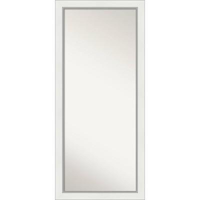 """29""""x65"""" Eva White Silver Framed Full Length Floor/Leaner Mirror - Amanti Art"""