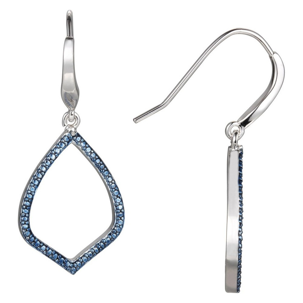 Image of Fine Silver Plated Bronze Blue Diamond Accent Earrings, Women's, Silver Blue