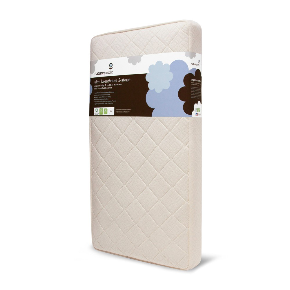Image of Naturepedic Certified Organic Cotton Ultra Breathable Baby Crib & Toddler Mattress-Lightweight-2-Stage, Beige