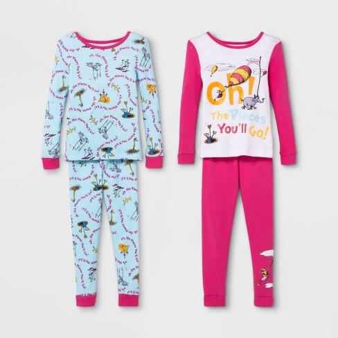 Toddler Girls' Dr. Seuss 4pc 100% Cotton Pajama Set - Pink/Blue - image 1 of 1