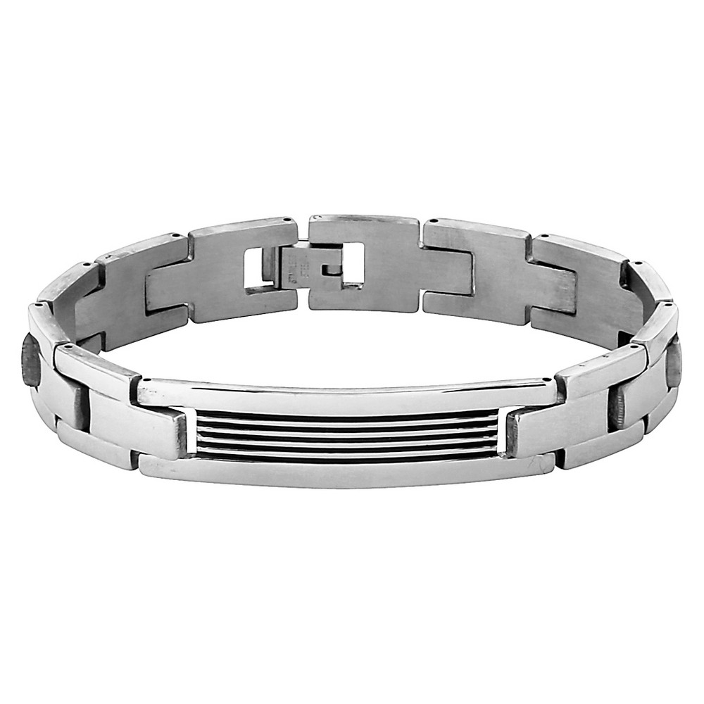 Men's Crucible Stainless Steel Grooved ID Plate Link Chain Bracelet, Silver