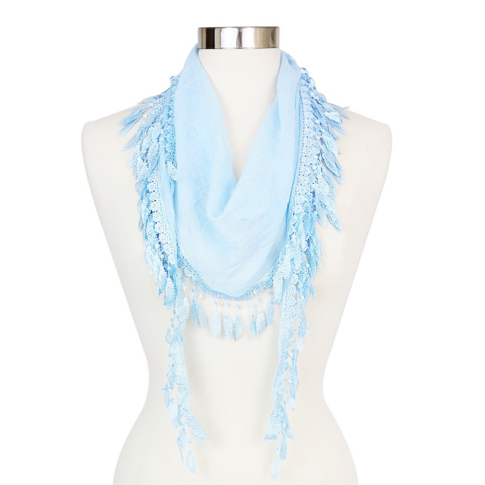 Women's Sylvia Alexander Triangle Pastel Lace Trim Scarf - Blue