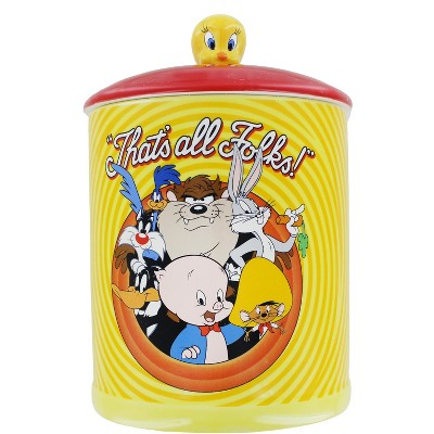 Silver Buffalo Looney Tunes Bullseye That's All Folks Large Canister Ceramic Cookie Jar