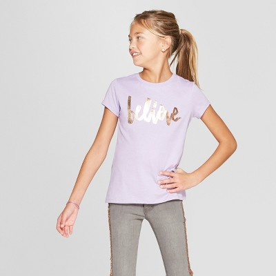 Girls' Short Sleeve Believe Graphic T-Shirt - Cat & Jack™ Purple XL