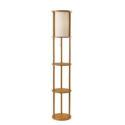 """62.5"""" Stewart Round Shelf Floor Lamp Tan - Adesso"""