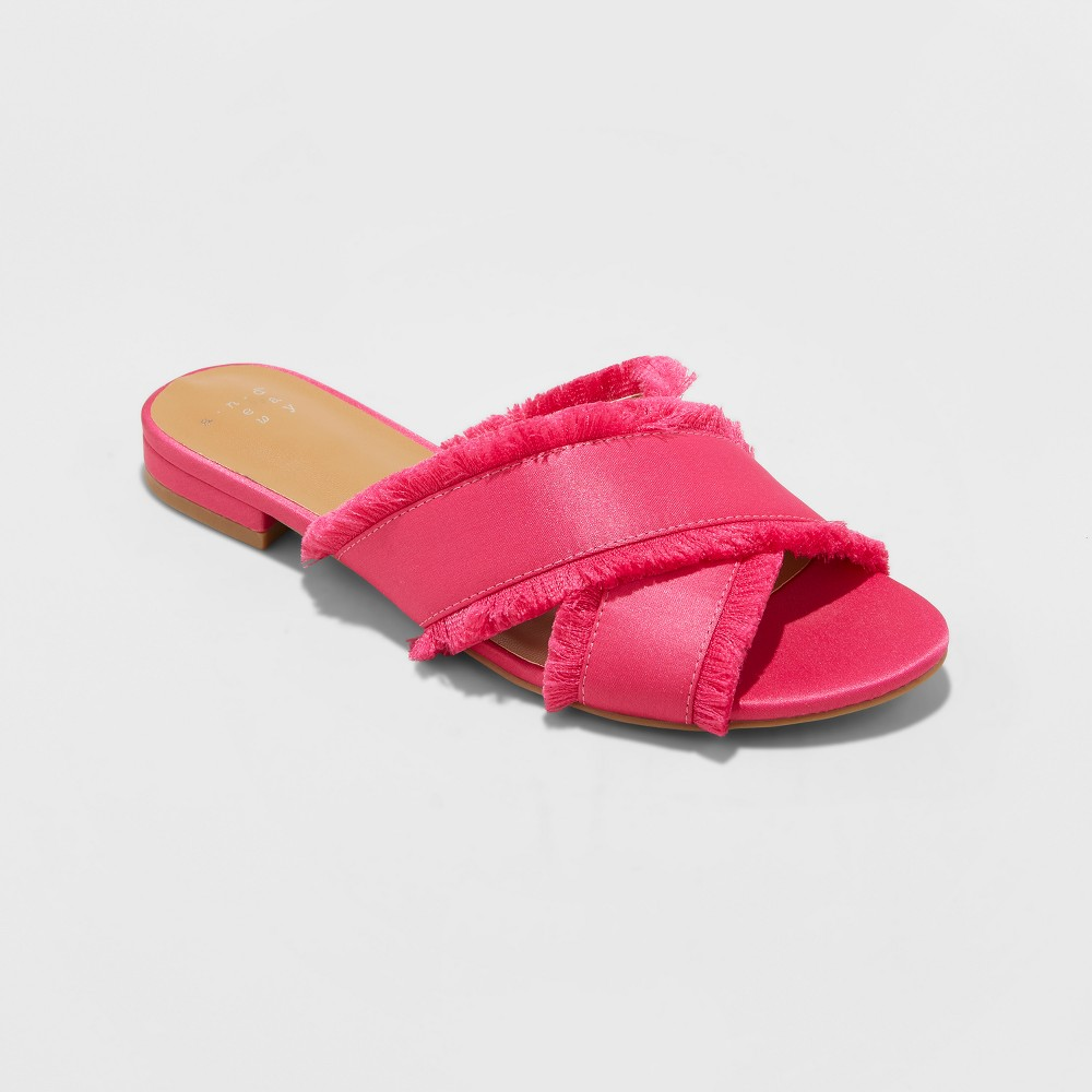 Women's Sephorie Satin Frayed Crossband Slide Sandals - A New Day Fuchsia (Pink) 8.5