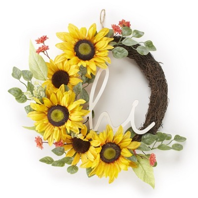 Lakeside Hanging Door Wreath with Hi Greeting - Floral Foyer Accent