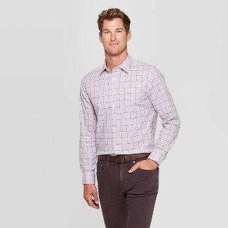 Men's Plaid Standard Fit Long Sleeve Dress Button-Down Shirt - Goodfellow & Co™ Lavender L