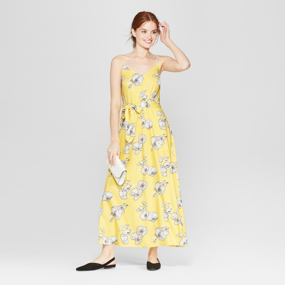 Women's Floral Print Sleeveless Maxi Dress - A New Day Yellow Xxl