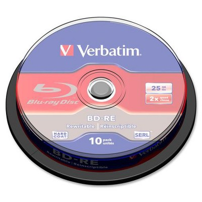 Verbatim BD-RE 25GB 2X with Branded Surface - 10pk Spindle Box - 25GB - 10pk Spindle