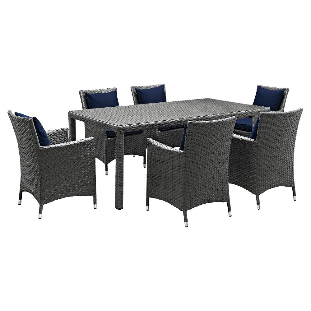 Sojourn 7pc 70 Rectangle All-Weather Wicker Patio Dining Set w/ Sunbrella Fabrict - Canvas/Navy (Blue) - Modway