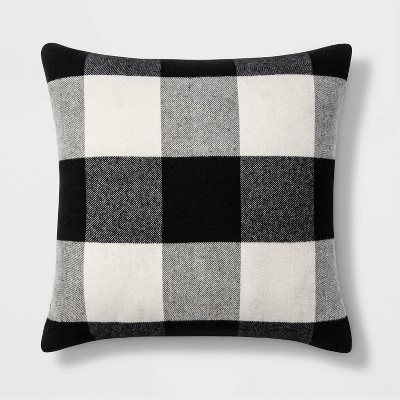 Woven Buffalo Check Square Throw Pillow Black/White - Threshold™