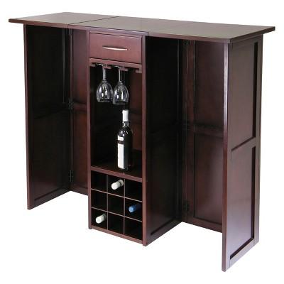 Folding Wine Bar Wood/Walnut - Winsome