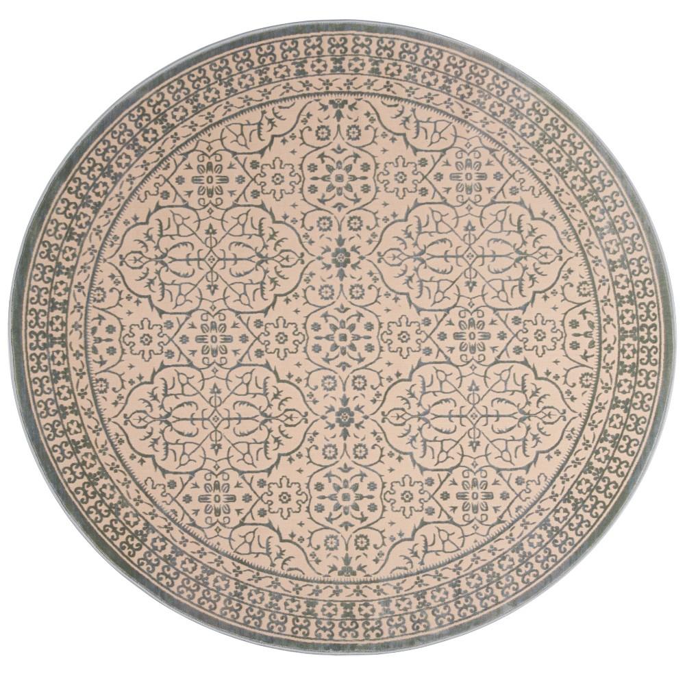 6'7 Medallion Round Area Rug Cream/Sage (Ivory/Green) - Safavieh