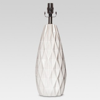 Faceted Ceramic Large Lamp Base White Lamp Only - Threshold™