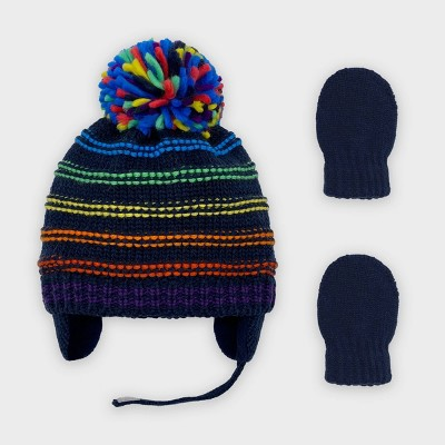 Baby Boys' Knit Striped Beanie and Magic Mittens Set - Cat & Jack™ 0-6M