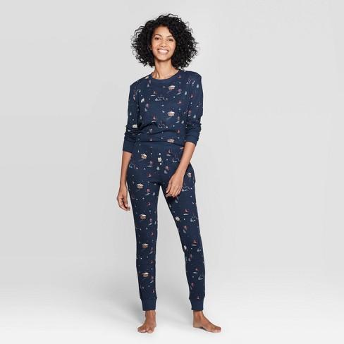 Women's Ski Print Thermal Sleep Pajama Set - Stars Above™ Navy - image 1 of 2