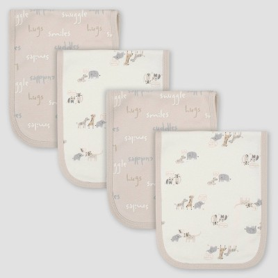 Gerber Baby 4pk Bear Interlock and Terry Burp Cloth Set - Cream