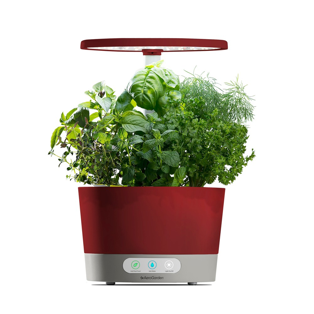 AeroGarden Harvest 360 with Gourmet Herbs 6-Pod Seed Kit - Red