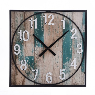 Square Metal Framed Take Time Wall Clock with Detail Weathered - StyleCraft