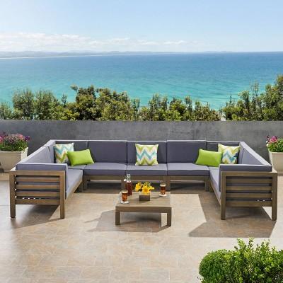 Oana 8pc Acacia Wood Sectional Sofa Set Gray/Dark Gray - Christopher Knight Home