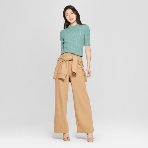 Women s Short Sleeve Shrunken Elbow Crew Sweater- Who What Wear™ Green XL    Target 379b0a3be