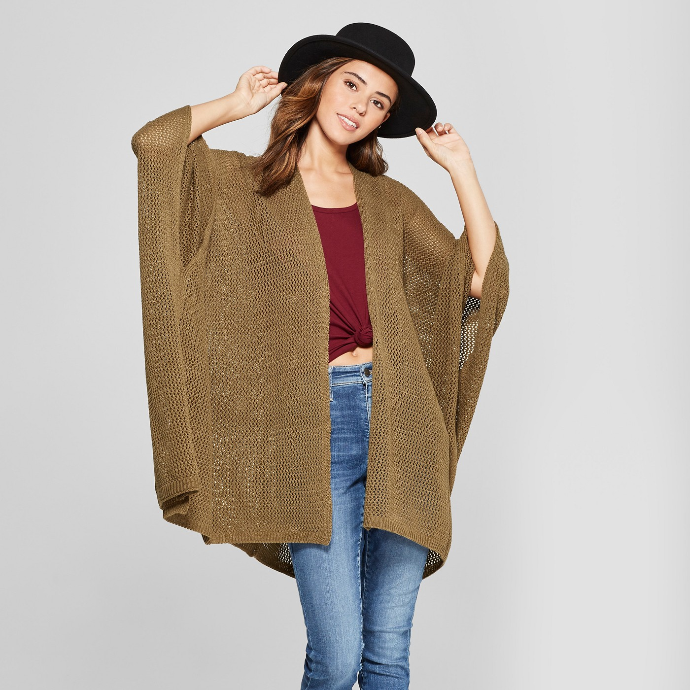 Women's Open Knit Duster Poncho Sweater - Universal Thread™ Vine Thorn - image 1 of 2