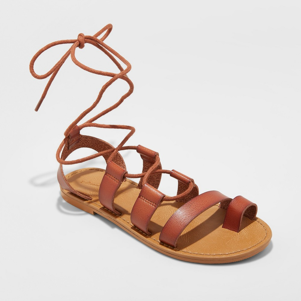 Women's Paige Lace Up Gladiator Sandals - Universal Thread Cognac (Red) 10