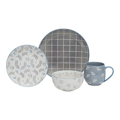 16pc Stoneware Lea Dinnerware Set Gray - Baum Bros.