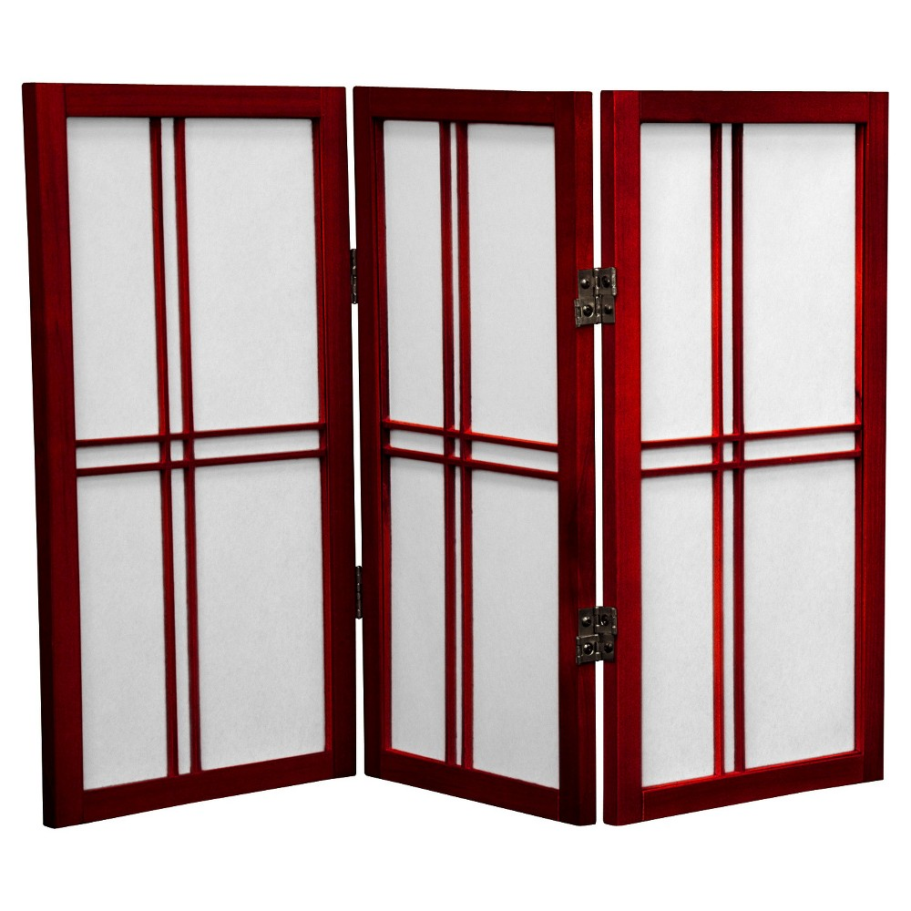 Image of 2 ft. Tall Desktop Double Cross Shoji Screen - Rosewood (3 Panels) - Oriental Furniture, Burgandian Red