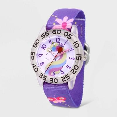 Girls' Red Balloon Unicorn Plastic Time Teacher Nylon Strap Watch - Purple
