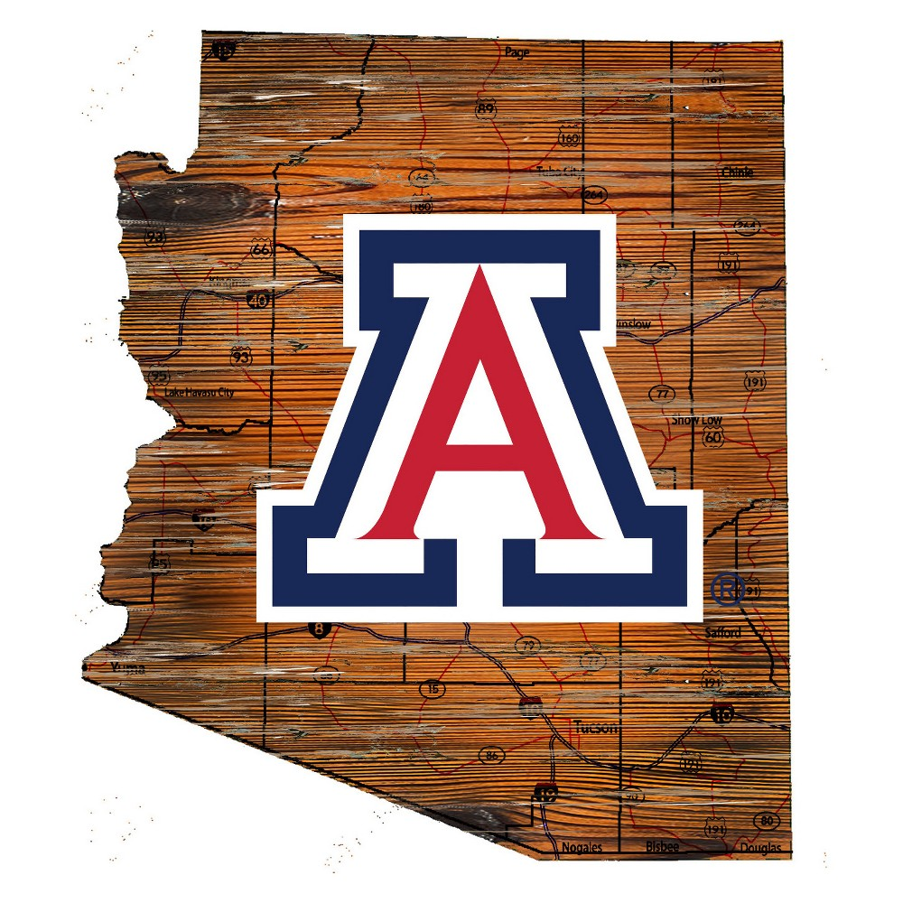 Arizona Wildcats Distressed Logo State Sign