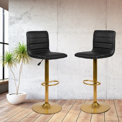 Flash Furniture Modern Vinyl Adjustable Height Barstool with Horizontal Stitch Back, Set of 2