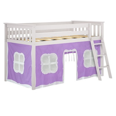 Max & Lily Twin Low Loft with Curtains