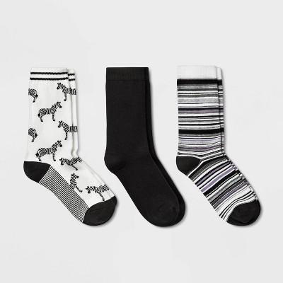 Women's Zebras 3pk Crew Socks - A New Day™ White/Black 4-10