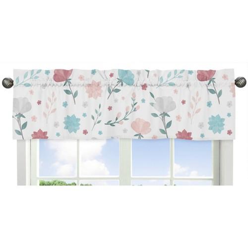 Pop Floral Window Valance Pink/Blue - Sweet Jojo Designs