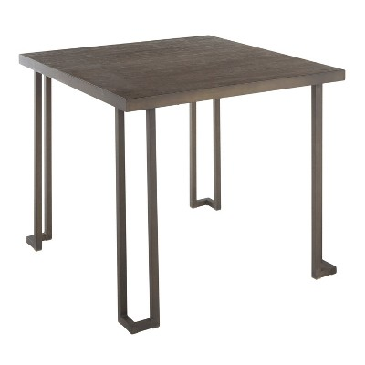 """36"""" Roman Industrial Square Dinette Dining Table Metal and Bamboo Antiqued Brown/Espresso - LumiSource"""