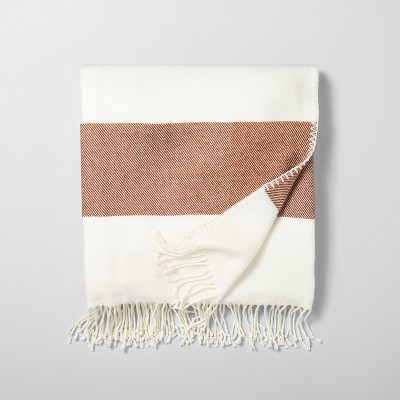 Border Stripe Throw Blanket Pumpkin Brown / Sour Cream - Hearth & Hand™ with Magnolia