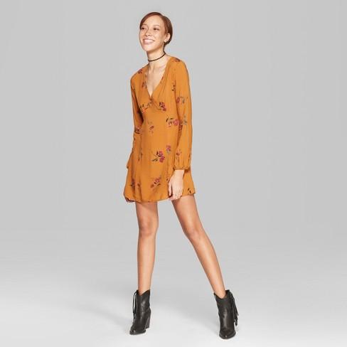 38017ff72f61 Women s Floral Print Long Sleeve V-Neck Woven Dress - Wild Fable™ Mustard  Yellow XL   Target