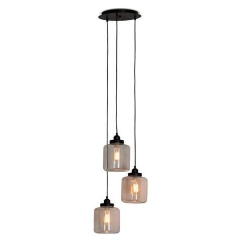 Solana Glass Jar Light Pendant Black - Baxton Studio - image 1 of 3