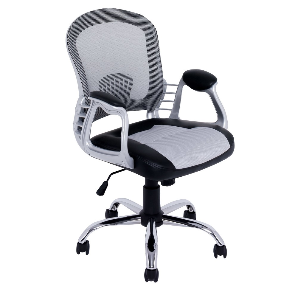 Workspace Leatherette and Mesh Office Chair Gray - CorLiving