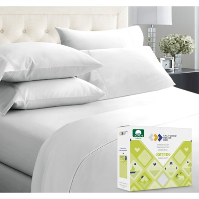 Softest 400 Thread Count   100% Cotton 6 Pcs with 4 Pillowcases Sheets Set   Cooling Bed Sheets by California Design Den
