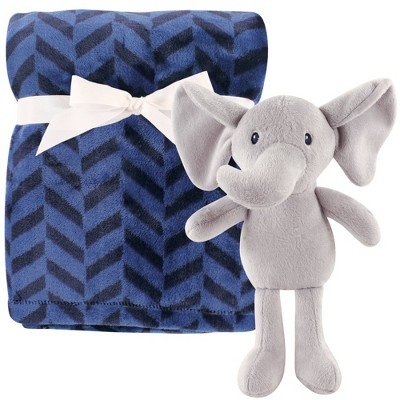 Hudson Baby Unisex Baby Plush Blanket with Toy Boy Elephant - One Size