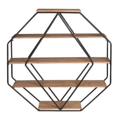 Wall Shelf Octagon Shaped - Walnut/Black