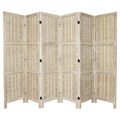 5 1/2 ft. Tall Bamboo Matchstick Woven Room Divider - Burnt White (6 Panel)