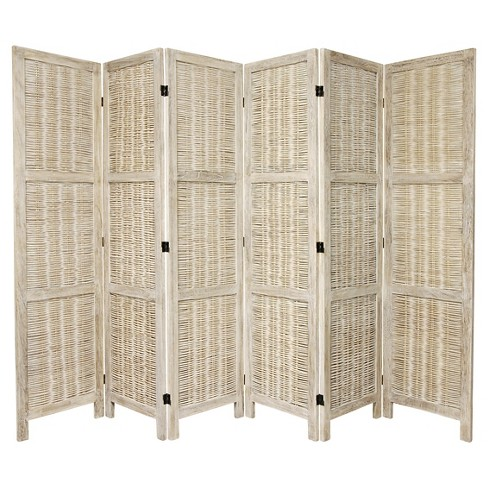 5 1/2 ft. Tall Bamboo Matchstick Woven Room Divider - Burnt White (6 Panel) - image 1 of 1